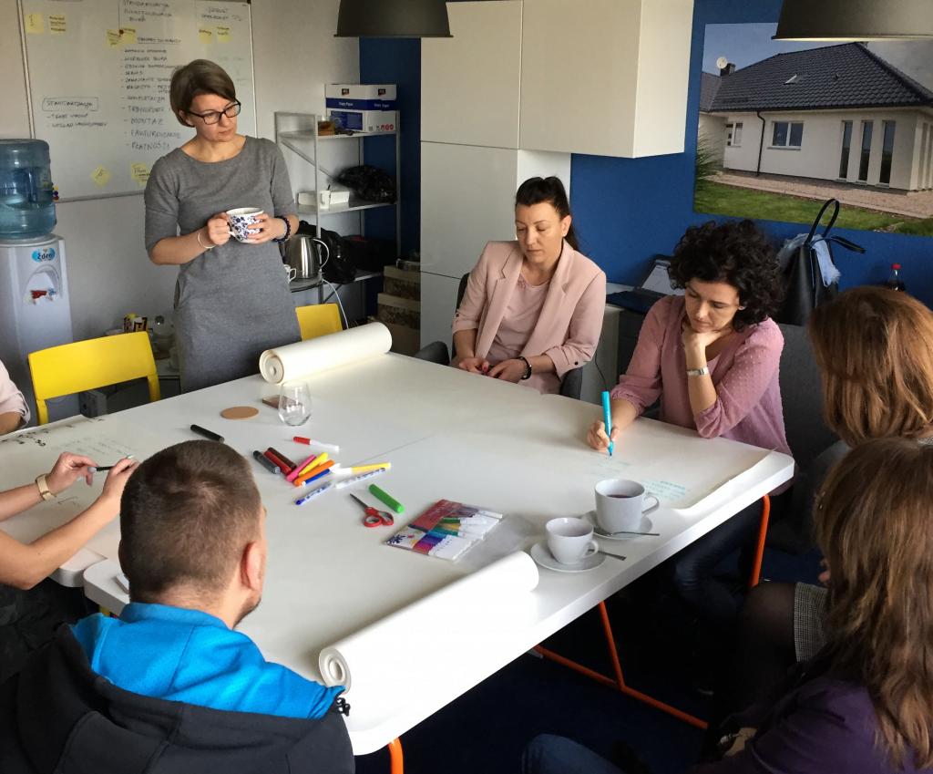 Zespół opracowuje system zarządzania i procesy w małej firmie