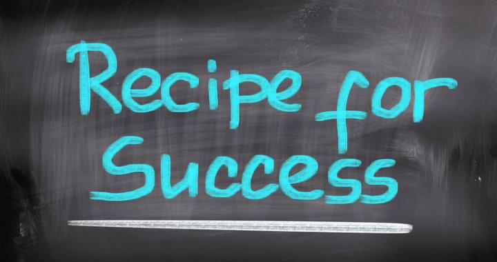 szkolna tablica na niej napis Recipe for Success